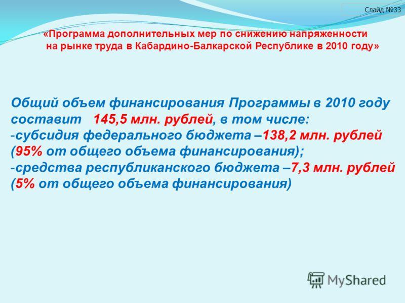 Слайд 33 Общий объем финансирования Программы в 2010 году составит 145,5 млн. рублей, в том числе: -субсидия федерального бюджета –138,2 млн. рублей (95% от общего объема финансирования); -средства республиканского бюджета –7,3 млн. рублей (5% от общ