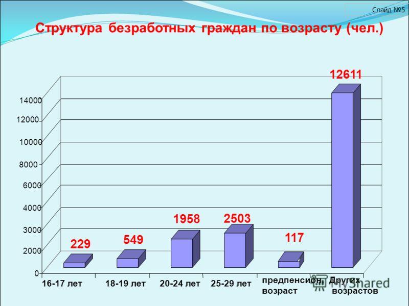 229 549 1958 2503 117 12611 0 2000 3000 4000 6000 8000 10000 14000 16-17 лет18-19 лет20-24 лет25-29 лет предпенсион. возраст Других возрастов Структура безработных граждан по возрасту (чел.) Слайд 5 12000
