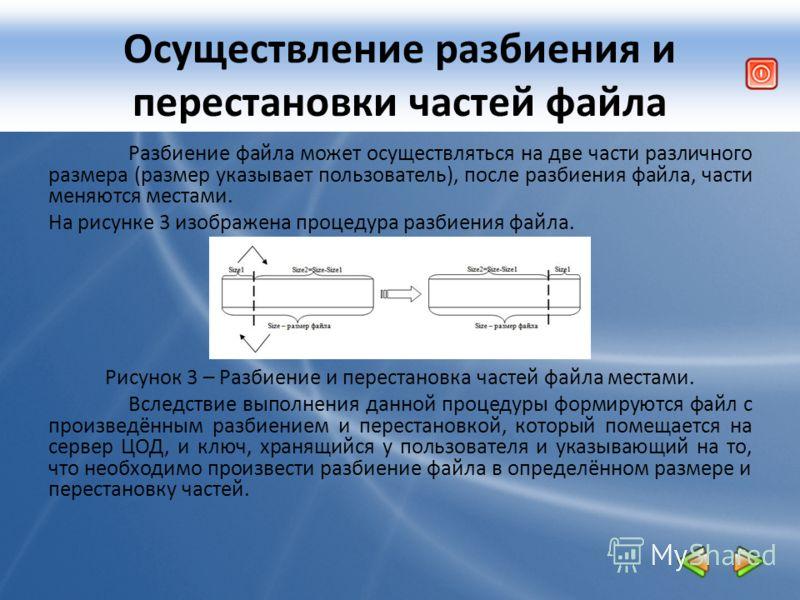 Осуществление разбиения и перестановки частей файла Разбиение файла может осуществляться на две части различного размера (размер указывает пользователь), после разбиения файла, части меняются местами. На рисунке 3 изображена процедура разбиения файла