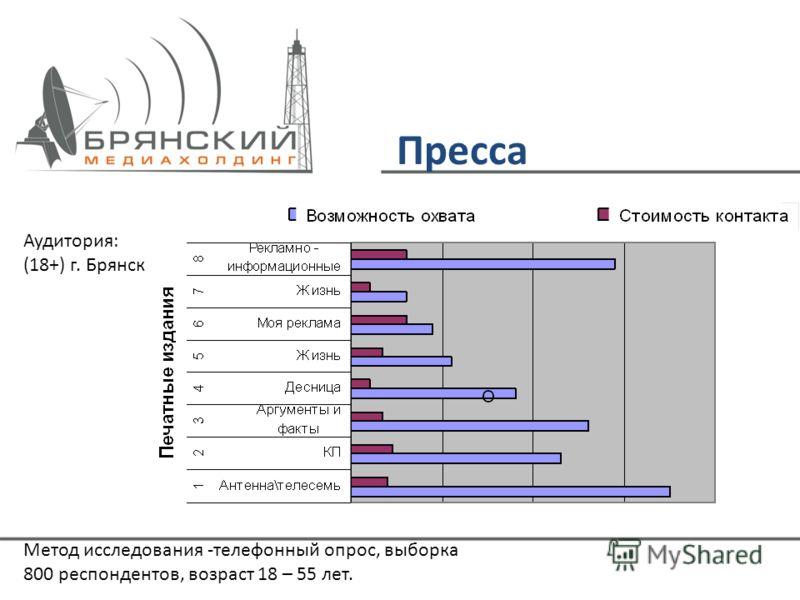 Пресса Аудитория: (18+) г. Брянск Метод исследования -телефонный опрос, выборка 800 респондентов, возраст 18 – 55 лет.