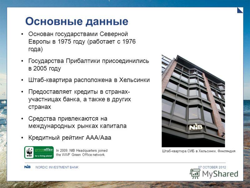 NORDIC INVESTMENT BANK Основные данные Основан государствами Северной Европы в 1975 году (работает с 1976 года) Государства Прибалтики присоединились в 2005 году Штаб-квартира расположена в Хельсинки Предоставляет кредиты в странах- участницах банка,