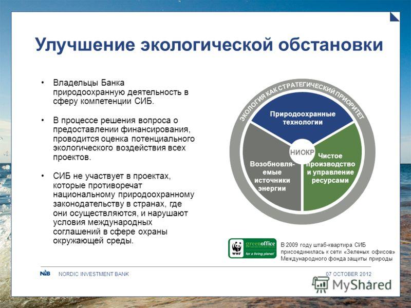 NORDIC INVESTMENT BANK Улучшение экологической обстановки 09 AUGUST 2012 6 Владельцы Банка природоохранную деятельность в сферу компетенции СИБ. В процессе решения вопроса о предоставлении финансирования, проводится оценка потенциального экологическо