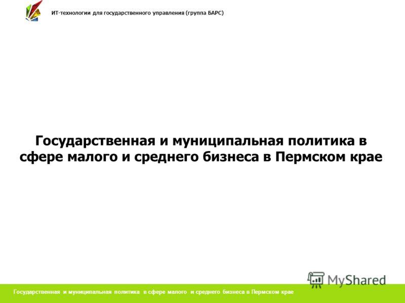 Государственная и муниципальная политика в сфере малого и среднего бизнеса в Пермском крае