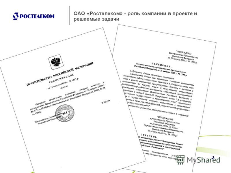 2 ОАО «Ростелеком» - роль компании в проекте и решаемые задачи
