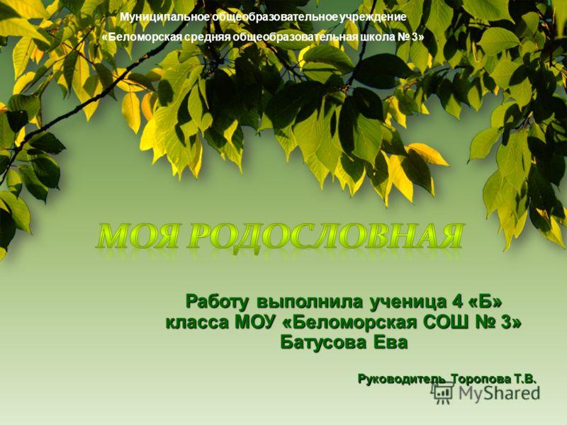 Муниципальное общеобразовательное учреждение «Беломорская средняя общеобразовательная школа 3»