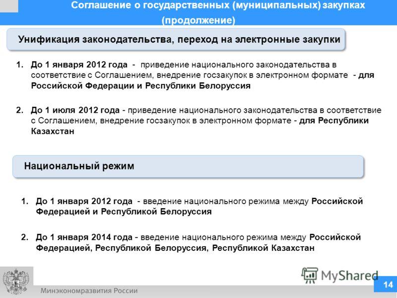 Соглашение о государственных (муниципальных) закупках (продолжение) 14 Унификация законодательства, переход на электронные закупки Национальный режим 1.До 1 января 2012 года - введение национального режима между Российской Федерацией и Республикой Бе