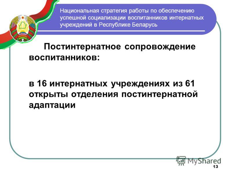 13 Национальная стратегия работы по обеспечению успешной социализации воспитанников интернатных учреждений в Республике Беларусь Постинтернатное сопровождение воспитанников: в 16 интернатных учреждениях из 61 открыты отделения постинтернатной адаптац