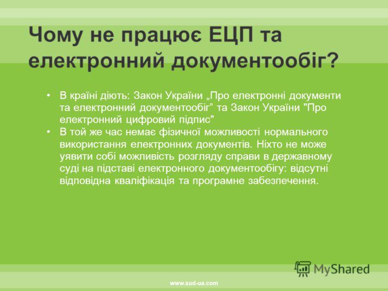 В країні діють: Закон України Про електронні документи та електронний документообіг та Закон України