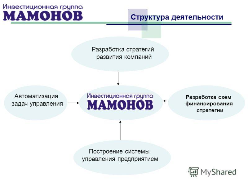 Структура деятельности Разработка стратегий развития компаний Построение системы управления предприятием Разработка схем финансирования стратегии Автоматизация задач управления