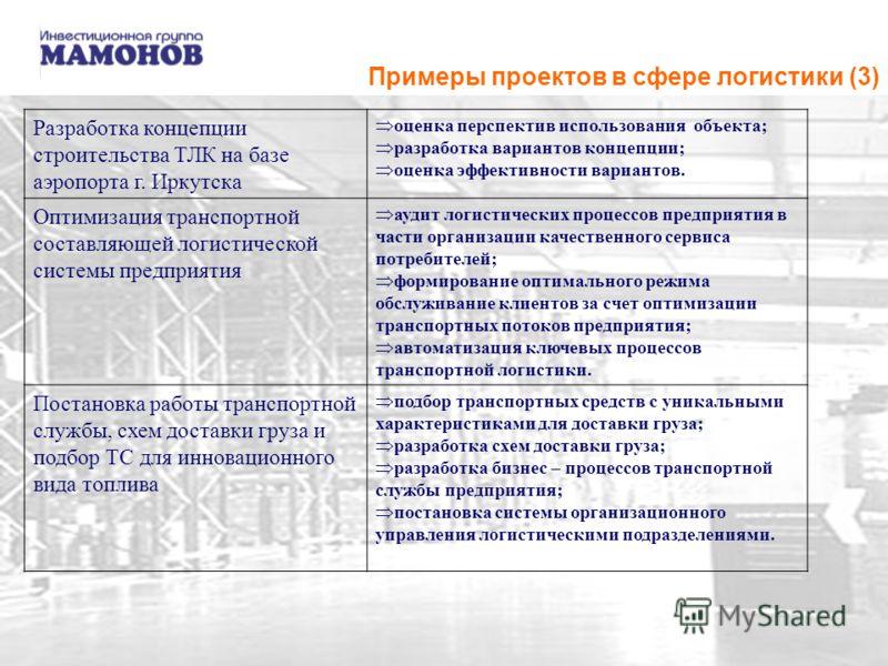 Примеры проектов в сфере логистики (3) Разработка концепции строительства ТЛК на базе аэропорта г. Иркутска оценка перспектив использования объекта; разработка вариантов концепции; оценка эффективности вариантов. Оптимизация транспортной составляющей