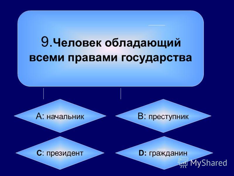 9. Человек обладающий всеми правами государства А: начальник B: преступник C: президент D: гражданин