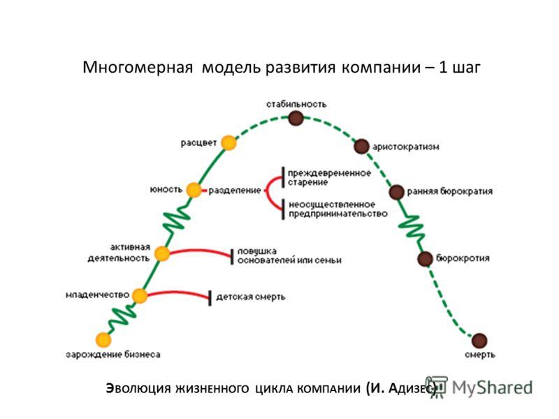 Многомерная модель развития компании – 1 шаг Э ВОЛЮЦИЯ ЖИЗНЕННОГО ЦИКЛА КОМПАНИИ (И. А ДИЗЕС )