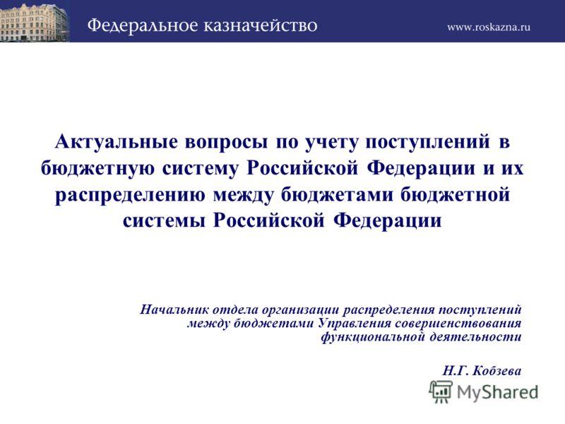 Актуальные вопросы по учету поступлений в бюджетную систему Российской Федерации и их распределению между бюджетами бюджетной системы Российской Федерации Начальник отдела организации распределения поступлений между бюджетами Управления совершенствов