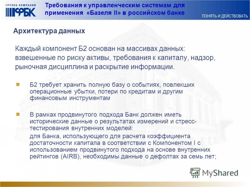 Требования к управленческим системам для применения «Базеля II» в российском банке Архитектура данных Каждый компонент Б2 основан на массивах данных: взвешенные по риску активы, требования к капиталу, надзор, рыночная дисциплина и раскрытие информаци