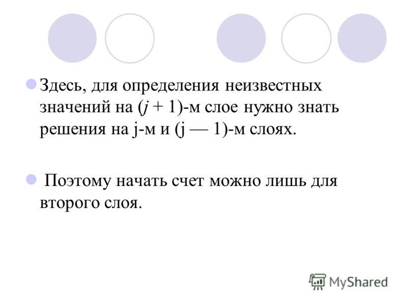 Здесь, для определения неизвестных значений на (j + 1)-м слое нужно знать решения на j-м и (j 1)-м слоях. Поэтому начать счет можно лишь для второго слоя.