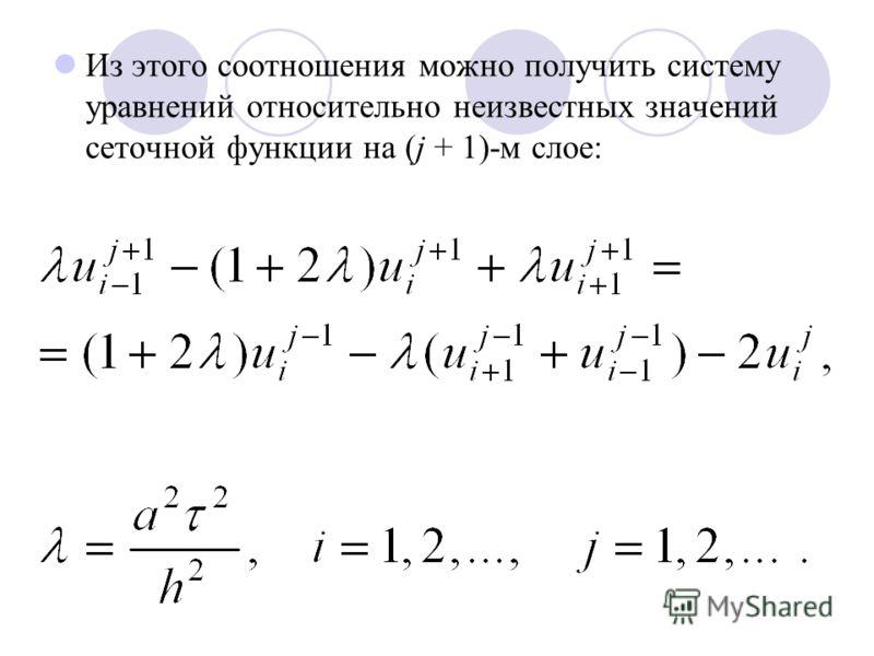 Из этого соотношения можно получить систему уравнений относительно неизвестных значений сеточной функции на (j + 1)-м слое: