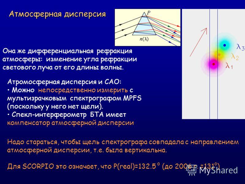 Атмосферная дисперсия Она же дифференциальная рефракция атмосферы: изменение угла рефракции светового луча от его длины волны. Атромосферная дисперсия и САО: Можно непосредственно измерить с мультизрачковым спектрографом MPFS (поскольку у него нет ще