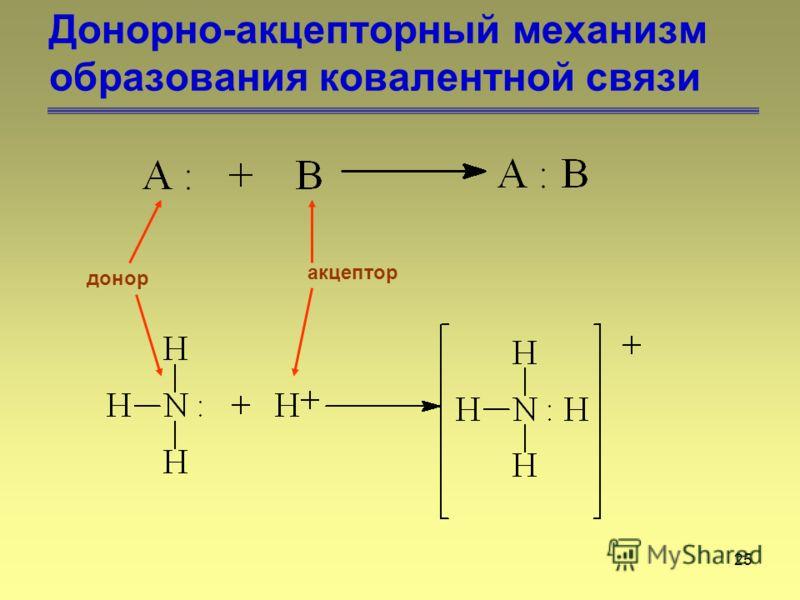25 Донорно-акцепторный механизм образования ковалентной связи донор акцептор