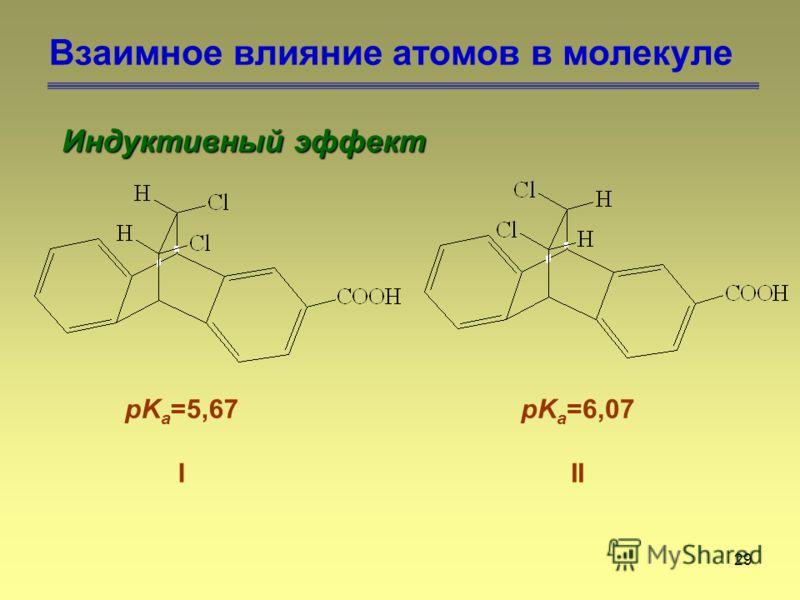29 Взаимное влияние атомов в молекуле Индуктивный эффект pK a =5,67 I pK a =6,07 II