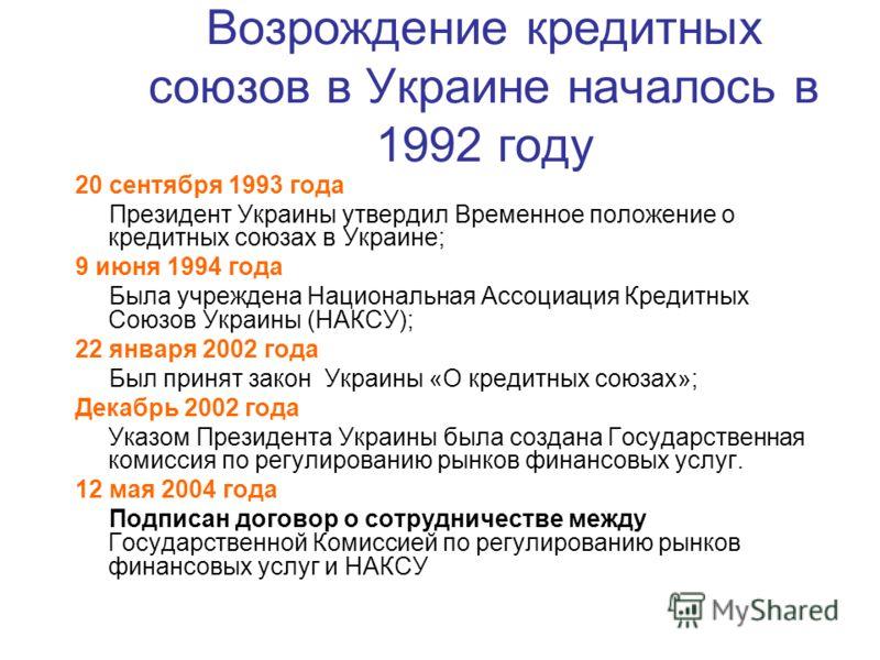 Возрождение кредитных союзов в Украине началось в 1992 году 20 сентября 1993 года Президент Украины утвердил Временное положение о кредитных союзах в Украине; 9 июня 1994 года Была учреждена Национальная Ассоциация Кредитных Союзов Украины (НАКСУ); 2