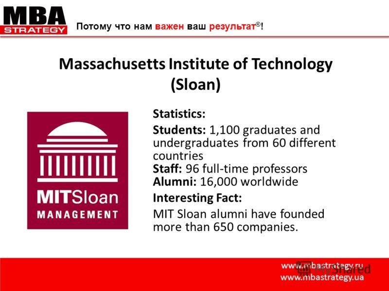 www.mbastrategy.ru www.mbastrategy.ua Потому что нам важен ваш результат ® ! Massachusetts Institute of Technology (Sloan) Statistics: Students: 1,100 graduates and undergraduates from 60 different countries Staff: 96 full-time professors Alumni: 16,