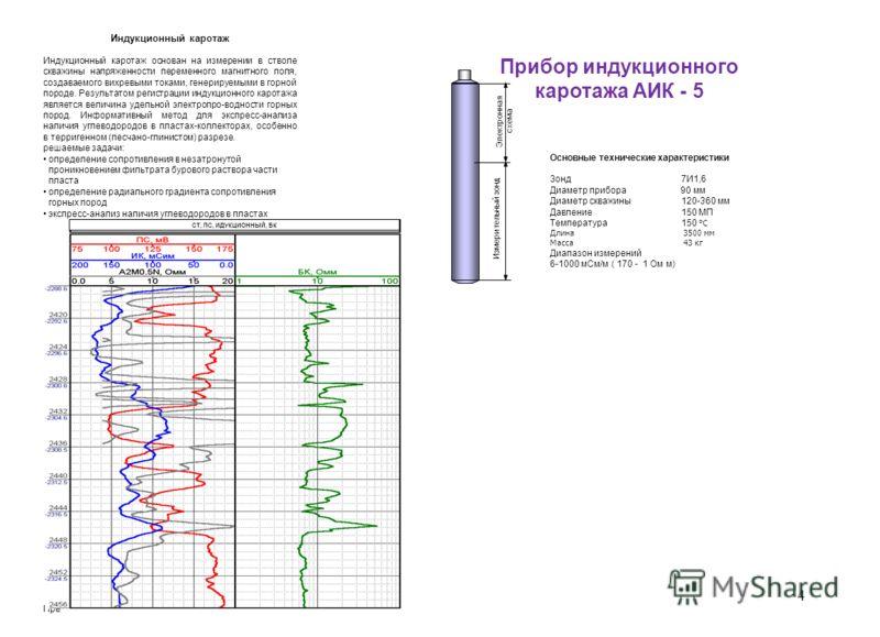 Прибор индукционного каротажа АИК - 5 Индукционный каротаж Индукционный каротаж основан на измерении в стволе скважины напряженности переменного магнитного поля, создаваемого вихревыми токами, генерируемыми в горной породе. Результатом регистрации ин
