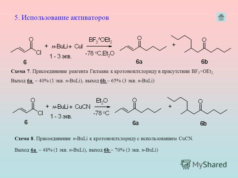 Схема 7. Присоединение реагента Гилмана к кротоноилхлориду в присутствии BF 3 ×OEt 2. Схема 8. Присоединение н-BuLi к кротоноилхлориду с использованием CuCN. Выход 6а – 40% (1 экв. н-BuLi), выход 6b – 65% (3 экв. н-BuLi) Выход 6а – 48% (1 экв. н-BuLi