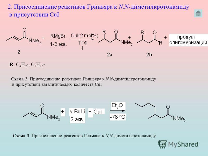 2. Присоединение реактивов Гриньяра к N,N диметилкротонамиду в присутствии CuI Схема 2. Присоединение реактивов Гриньяра к N,N диметилкротонамиду в присутствии каталитических количеств CuI R: C 4 H 9 -, C 7 H 15 - Схема 3. Присоединение реагентов Гил