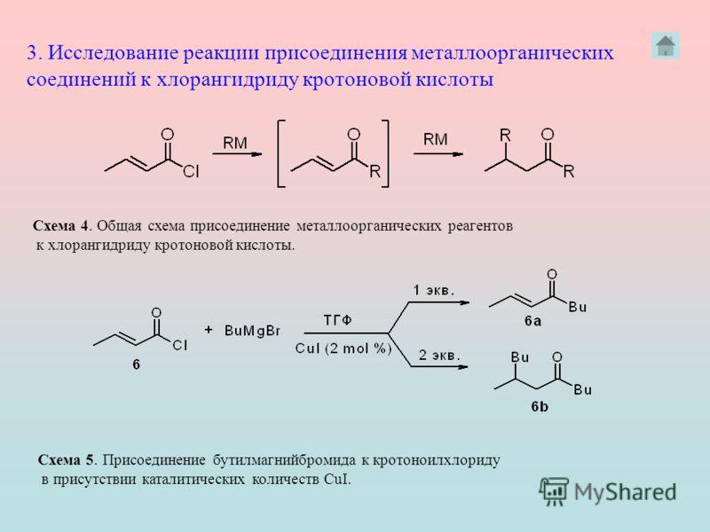 3. Исследование реакции присоединения металлоорганических соединений к хлорангидриду кротоновой кислоты Схема 4. Общая схема присоединение металлоорганических реагентов к хлорангидриду кротоновой кислоты. Схема 5. Присоединение бутилмагнийбромида к к