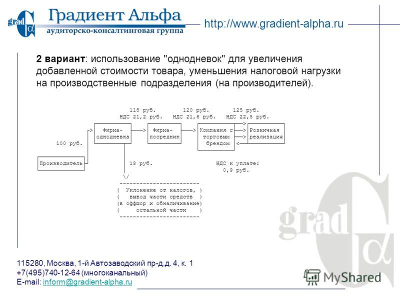 115280, Москва, 1-й Автозаводский пр-д,д. 4, к. 1 +7(495)740-12-64 (многоканальный) E-mail: inform@gradient-alpha.ruinform@gradient-alpha.ru http://www.gradient-alpha.ru 2 вариант: использование