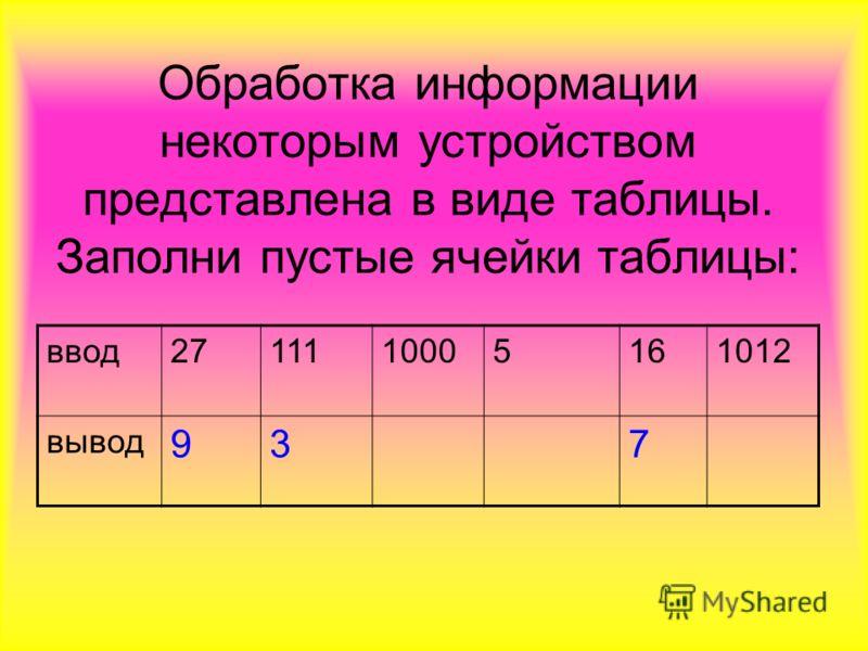 Обработка информации некоторым устройством представлена в виде таблицы. Заполни пустые ячейки таблицы: ввод2711110005161012 вывод 937