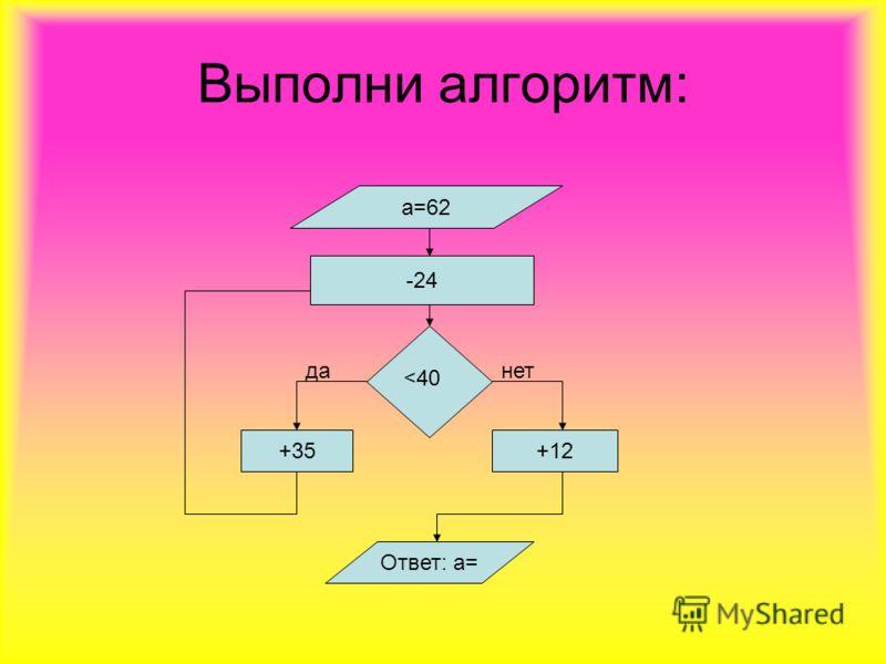 Выполни алгоритм: а=62 -24 +35 +12 Ответ: а=