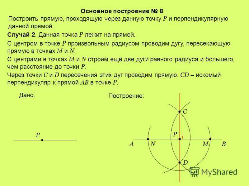 Основное построение 8 Построить прямую, проходящую через данную точку Р и перпендикулярную данной прямой. Случай 1. Данная точка P лежит вне прямой. С центром в точке Р радиусом, большим расстояния от Р до прямой АВ, проводим дугу, пересекающую пряму