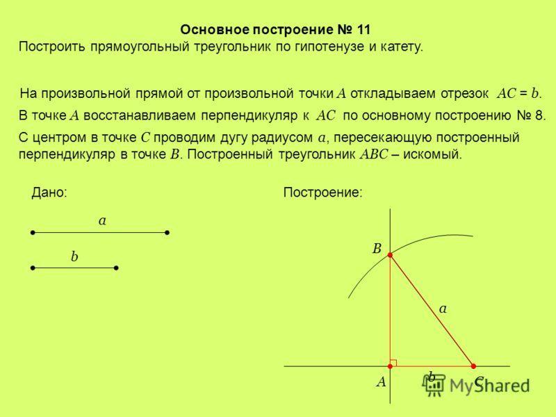 Основное построение 10 Построить прямоугольный треугольник по гипотенузе и острому углу. На произвольной прямой от произвольно взятой на ней точки А откладываем отрезок AB = a. Дано: a Построение: AB C a Далее строим угол, равный данному углу, с верш