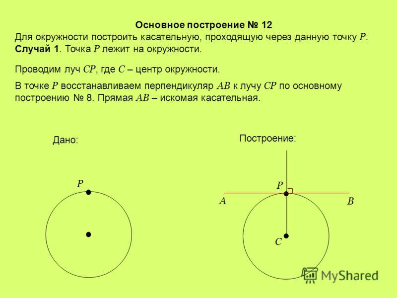 Основное построение 11 Построить прямоугольный треугольник по гипотенузе и катету. На произвольной прямой от произвольной точки А откладываем отрезок АС = b. Дано: a b Построение: A b C B a В точке А восстанавливаем перпендикуляр к АС по основному по
