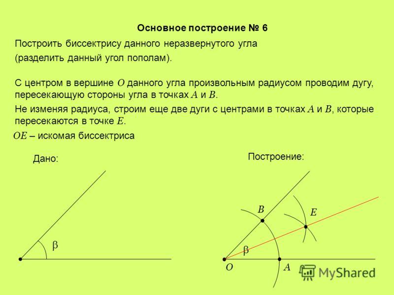 Основное построение 5 Построить треугольник по стороне и двум прилежащим углам. На произвольной прямой откладываем отрезок AB = a. Дано: a AB C a Построение: Используя основное построение 2, строим угол при точке A. Затем строим угол при точке В. Пос