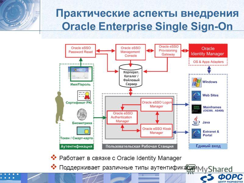 Практические аспекты внедрения Oracle Enterprise Single Sign-On Работает в связке с Oracle Identity Manager Поддерживает различные типы аутентификации