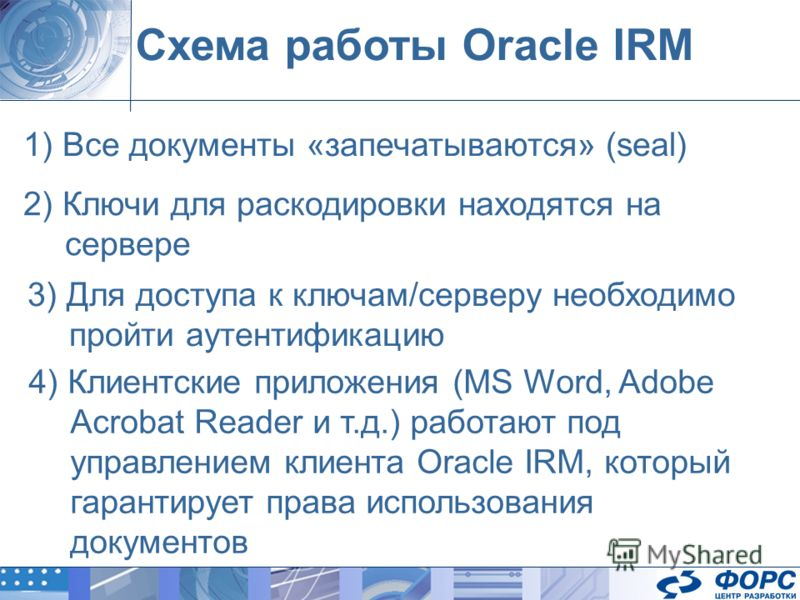 Схема работы Oracle IRM 1) Все документы «запечатываются» (seal) 2) Ключи для раскодировки находятся на сервере 3) Для доступа к ключам/серверу необходимо пройти аутентификацию 4) Клиентские приложения (MS Word, Adobe Acrobat Reader и т.д.) работают