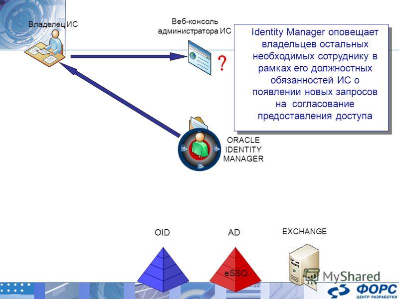 ORACLE IDENTITY MANAGER AD EXCHANGE OID Identity Manager оповещает владельцев остальных необходимых сотруднику в рамках его должностных обязанностей ИС о появлении новых запросов на согласование предоставления доступа Identity Manager оповещает владе