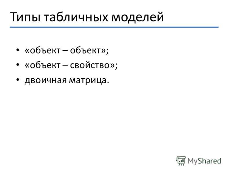 Типы табличных моделей «объект – объект»; «объект – свойство»; двоичная матрица.