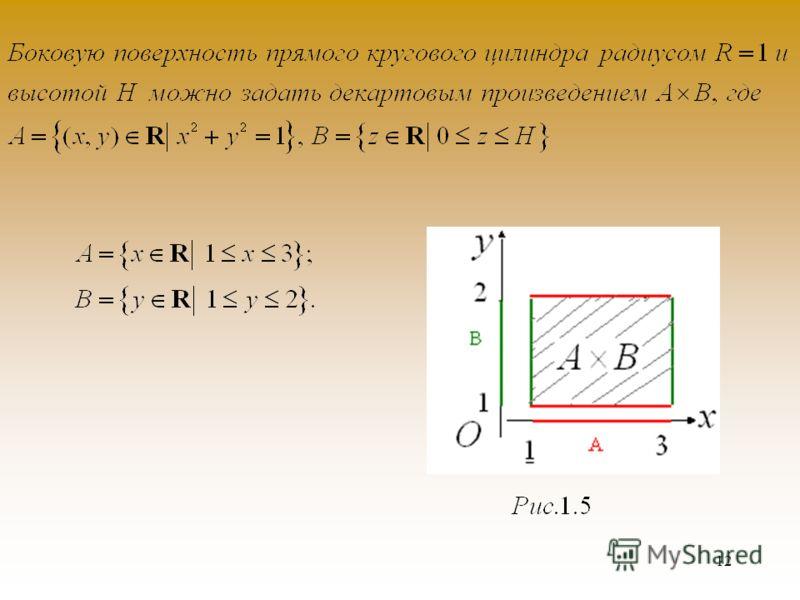 11 упорядоченнойПара элементов называется упорядоченной, если указан порядок записи элементов x и y. Считается, что координатами этой парыЭлементы x и y упорядоченной пары называются координатами этой пары. Декартовым произведениемДекартовым произвед