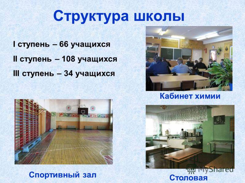 Структура школы I ступень – 66 учащихся II ступень – 108 учащихся III ступень – 34 учащихся Спортивный зал Кабинет химии Столовая