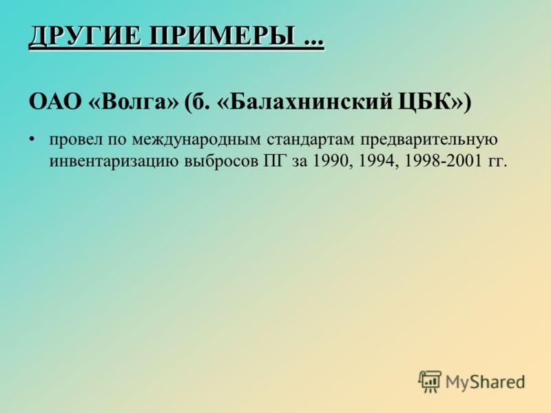 ДРУГИЕ ПРИМЕРЫ... ОАО «Волга» (б. «Балахнинский ЦБК») провел по международным стандартам предварительную инвентаризацию выбросов ПГ за 1990, 1994, 1998-2001 гг.