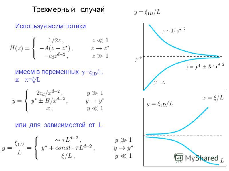 Трехмерный случай Используя асимптотики имеем в переменных y=ξ 1D /L и x=ξ/L или для зависимостей от L