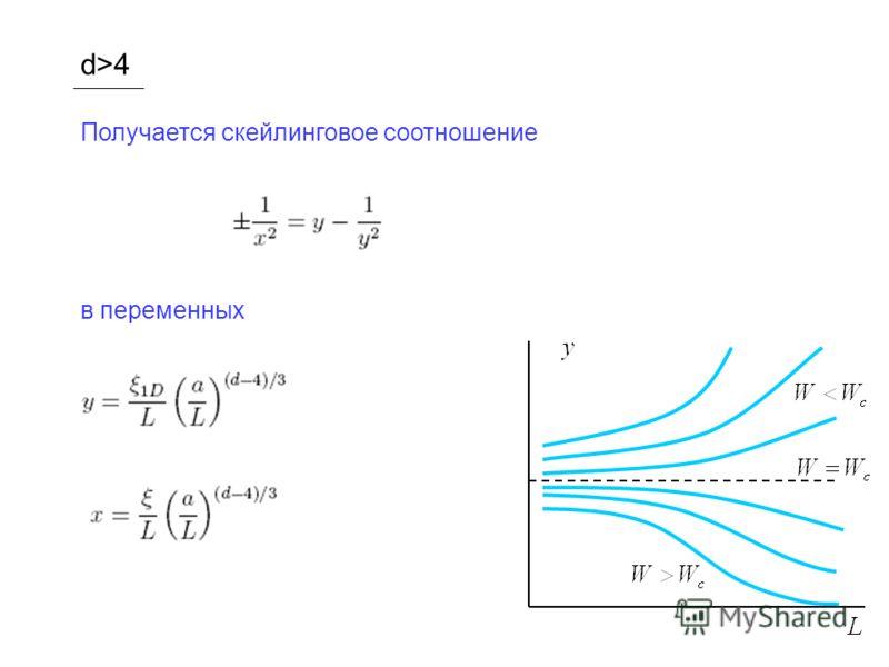 d>4 Получается скейлинговое соотношение в переменных
