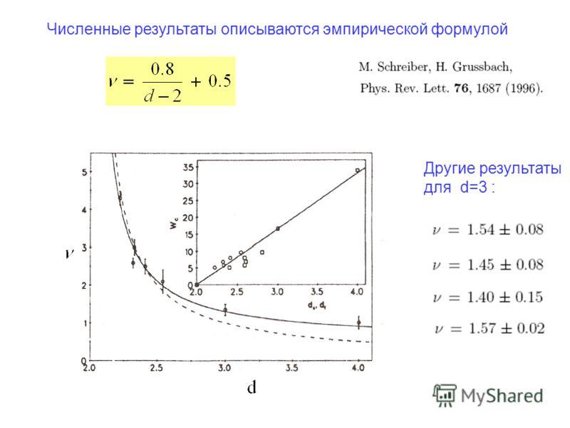 Численные результаты описываются эмпирической формулой Другие результаты для d=3 :