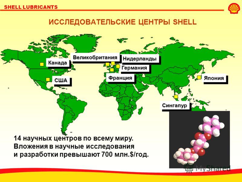 SHELL LUBRICANTS ИССЛЕДОВАТЕЛЬСКИЕ ЦЕНТРЫ SHELL 14 научных центров по всему миру. Вложения в научные исследования и разработки превышают 700 млн.$/год.