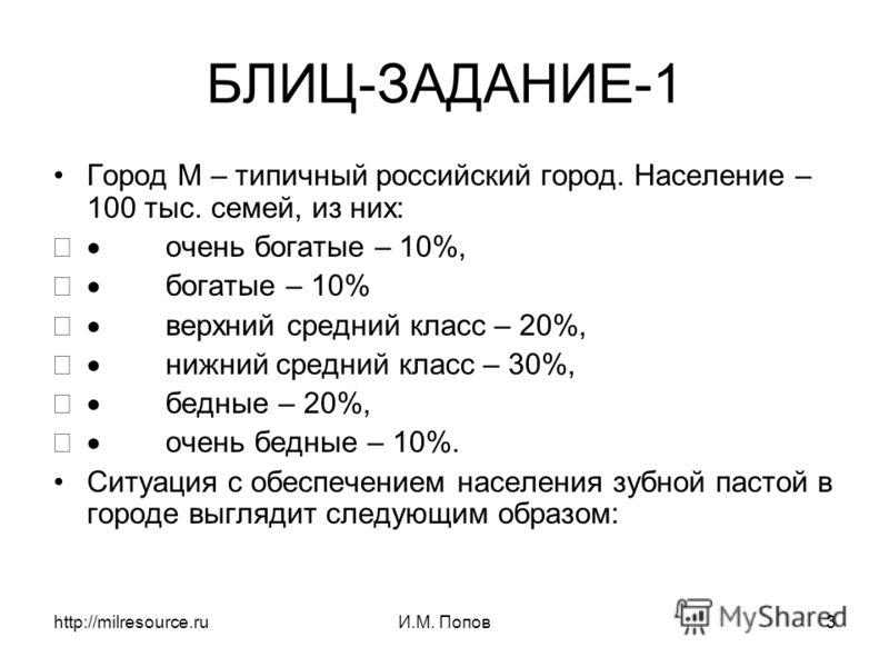 http://milresource.ruИ.М. Попов3 БЛИЦ-ЗАДАНИЕ-1 Город М – типичный российский город. Население – 100 тыс. семей, из них: очень богатые – 10%, богатые – 10% верхний средний класс – 20%, нижний средний класс – 30%, бедные – 20%, очень бедные – 10%. Сит