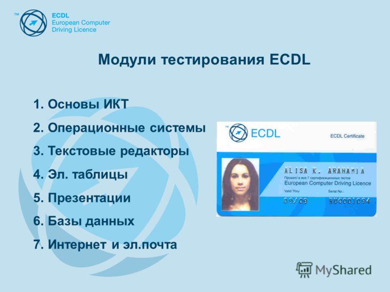 Модули тестирования ECDL 1.Основы ИКТ 2.Операционные системы 3.Текстовые редакторы 4.Эл. таблицы 5.Презентации 6.Базы данных 7.Интернет и эл.почта