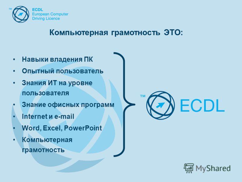 Навыки владения ПК Опытный пользователь Знания ИТ на уровне пользователя Знание офисных программ Internet и e-mail Word, Excel, PowerPoint Компьютерная грамотность Компьютерная грамотность ЭТО: